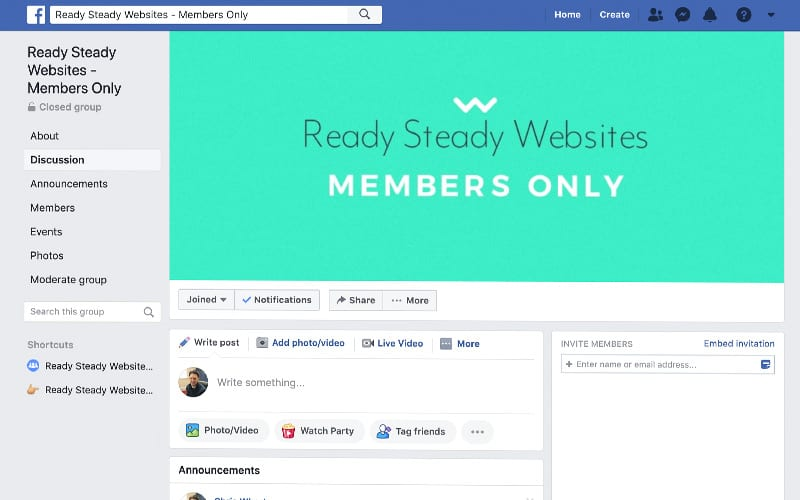 Ready Steady Websites Members Only Facebook Group screenshot