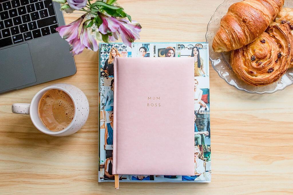 branding photos of planner with breakfast