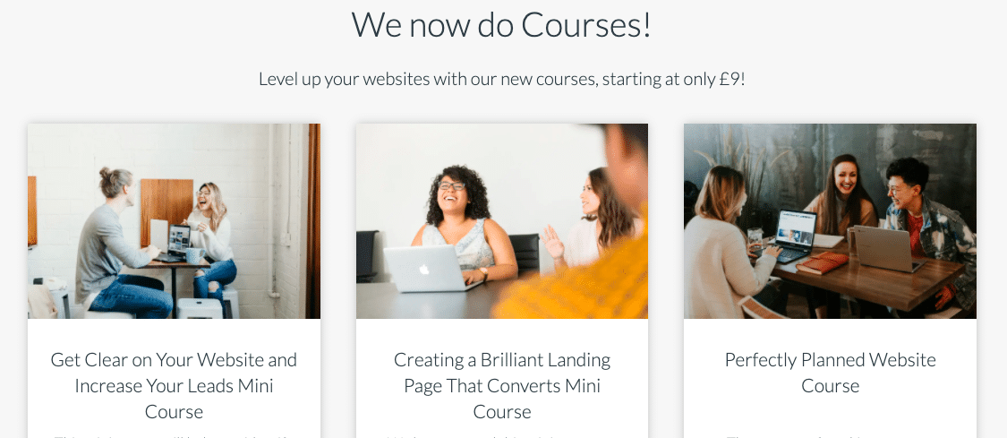Image of website courses available to buy