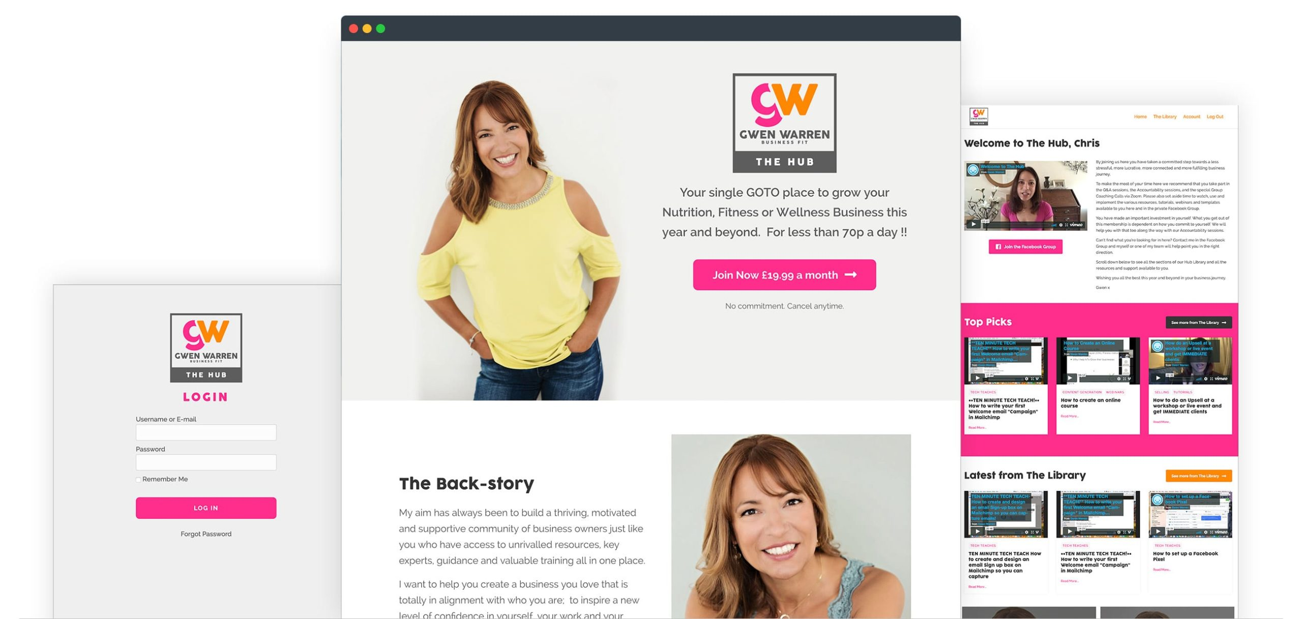 Gwen Warren Website and Membership site Screenshots