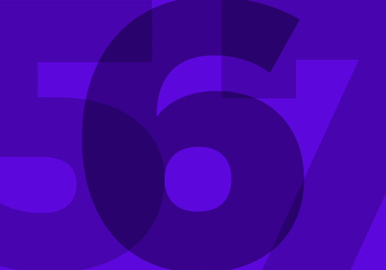 Numbers 567 overlapping