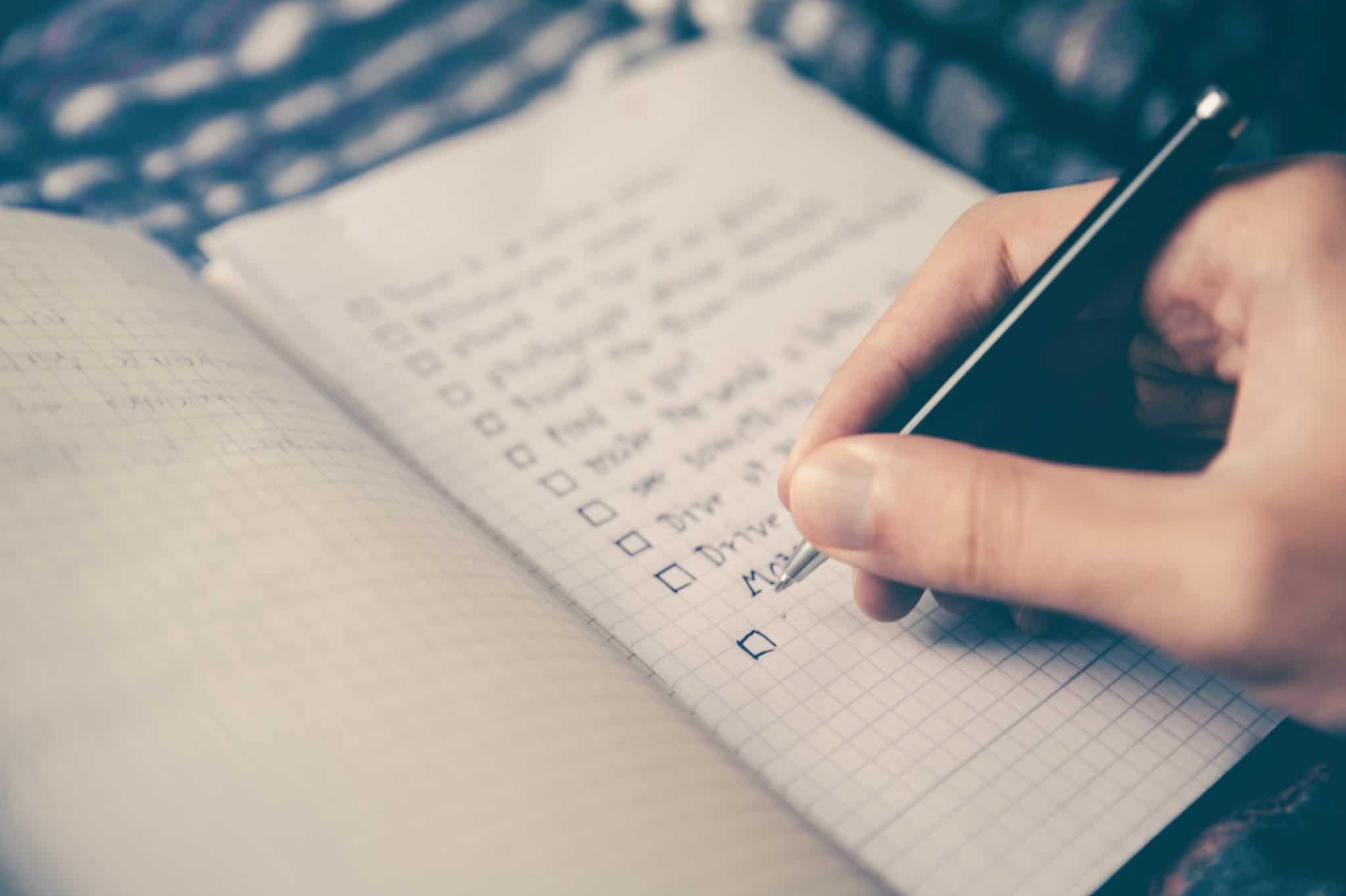 Website Checklist being ticked off