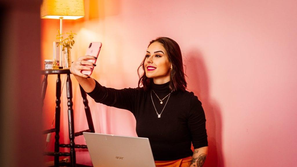 Woman taking selfie