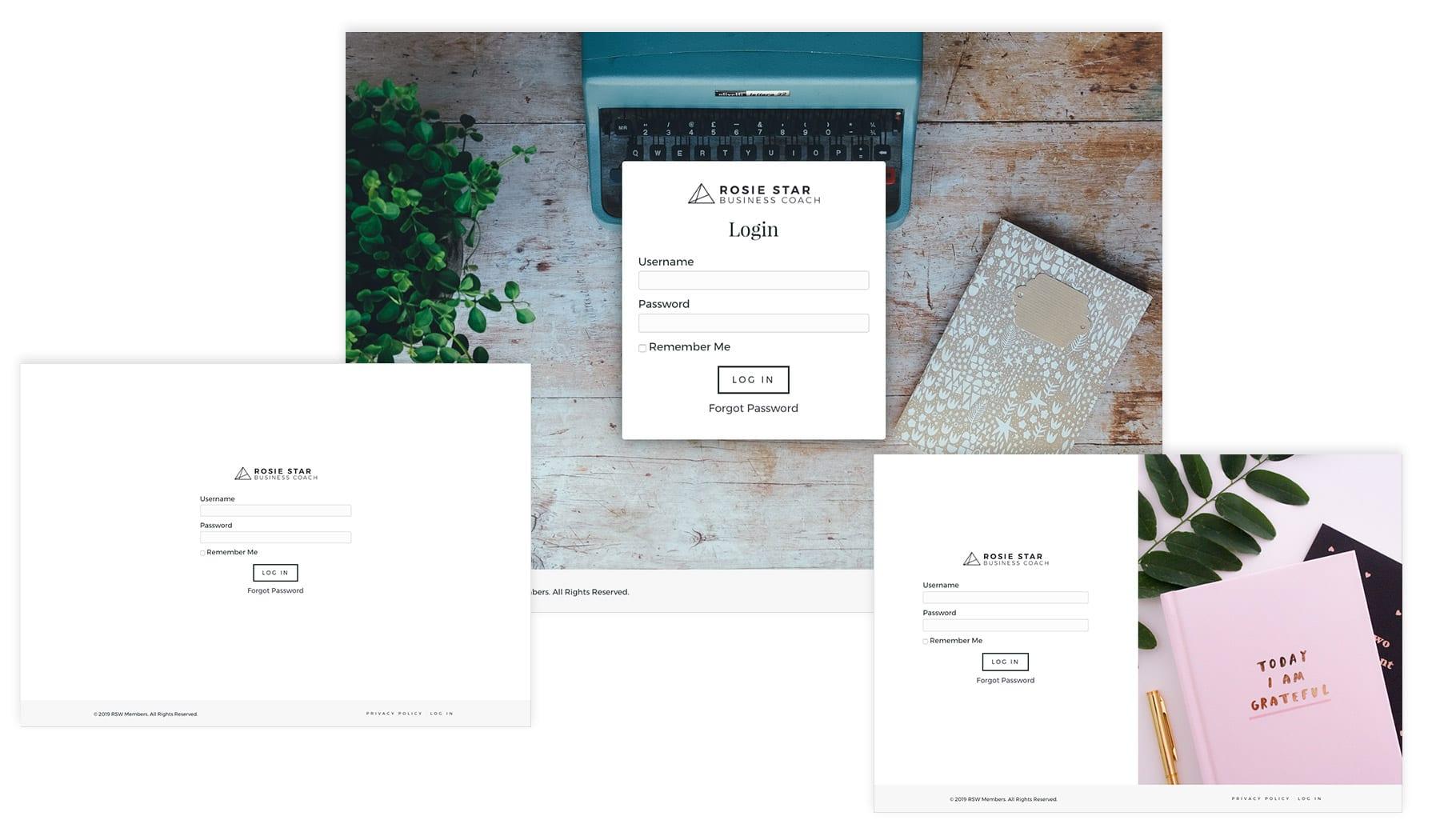 Membership Template - Login Screenshots