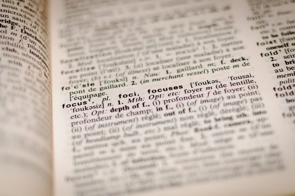 dictionary page focused on the word focus